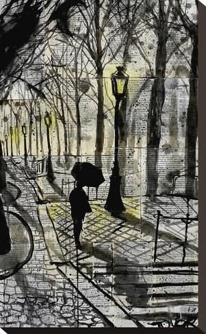 Stretched Canvas Print: Walking in Montmartre by Loui Jover :