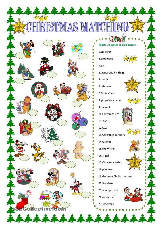 Christmas Matching With Disney Characters Christmas