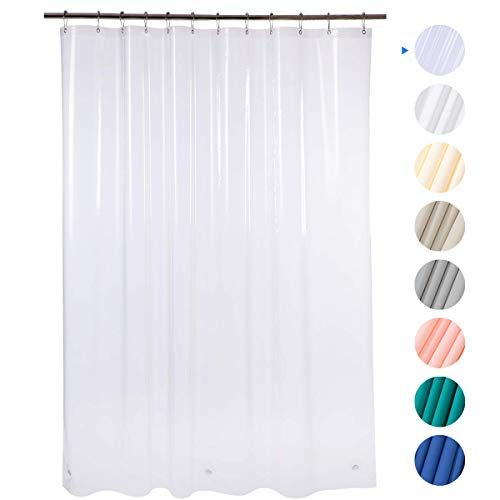 Amazerbath Plastic Shower Curtain 72 W X 72 H Eva 8g Shower Curtain With Heavy Duty Clear Stones And 12 Grommet Holes Thick Bathroom Plastic Shower Curtains Without Chemical Odor Clear Cool
