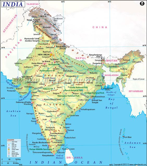 India Map showing the states capital airports roads rail – South India Map With Tourist Places
