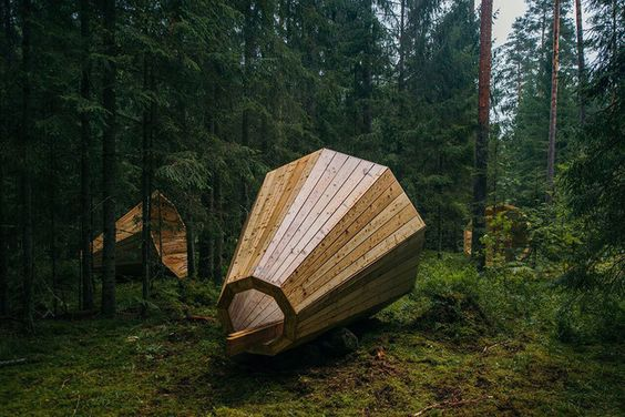Estonian Students Build Giant Wooden Megaphones To Listen To The Forest :: Check out more at http://www.designtra.com/estonian-students-build-giant-wooden-megaphones-to-listen-to-the-forest/