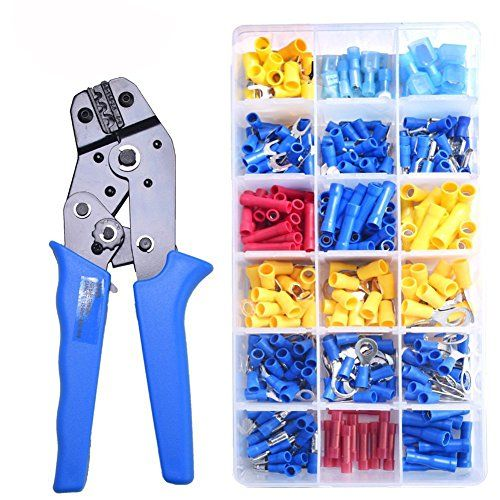 Crimping Plier Set 360pcs Insulated Assortment Spade Ring Electrical Wire Terminals Crimp Connectors Kit With Crimping Tool Electrical Wiring Electrical Tools