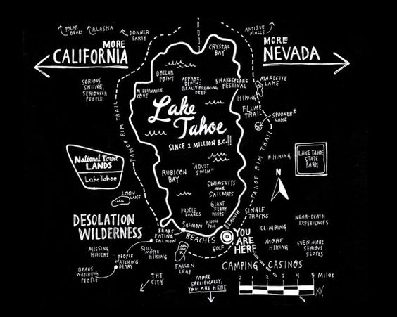 Map of Lake Tahoe Print for Basecamp Hotel by wendymacnaughton, $20.00