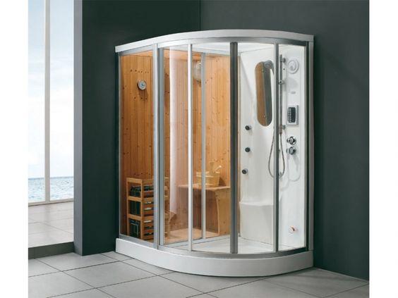 Douche d 39 angle baln o hammam sauna haumea l157xp110xh215cm angle gauche - Douche avec jet de massage ...