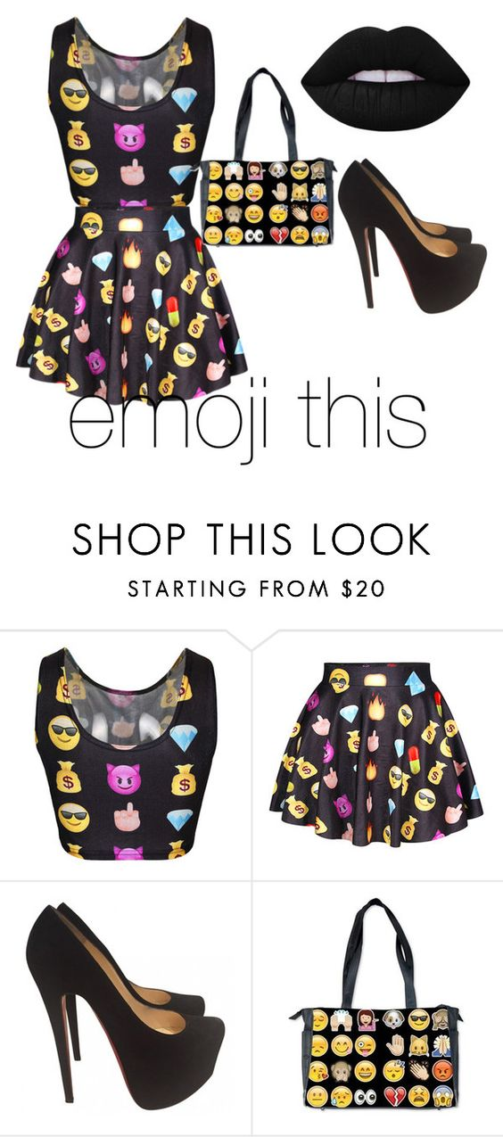 """Emoji this and youll go far"" by misstbae ❤ liked on Polyvore featuring Christian Louboutin, Lime Crime, women's clothing, women, female, woman, misses and juniors"