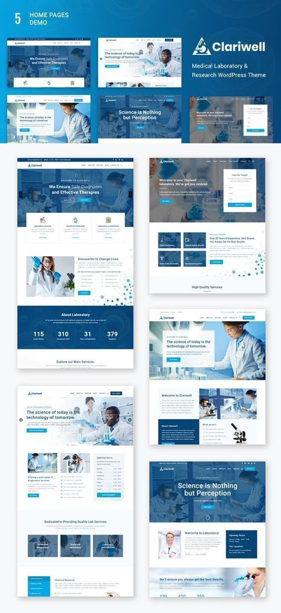 Clariwell Medical Laboratory Research Wordpress Theme Medical Website Design Medical Design Medical Websites