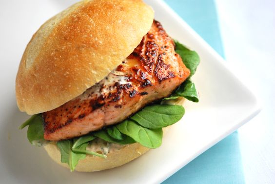 Agave Salmon Burgers with Chipotle Mayonnaise