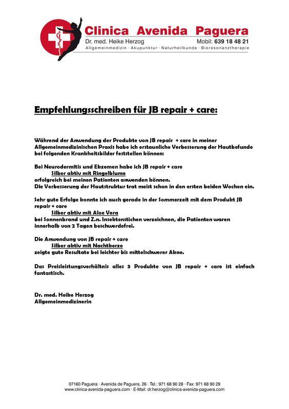 Empfehlungsschreiben für JB repair + care Hautcreme | JB repair+care ...