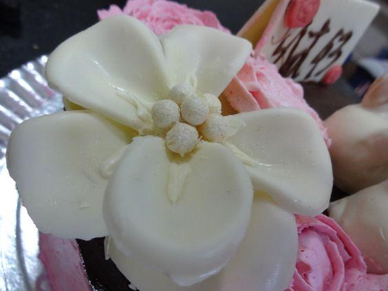 Flor de chocolate branco
