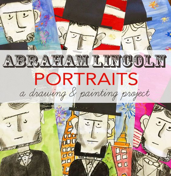 Kids learn to draw Abraham Lincoln and create a colorful, American-themed background. Great American History art activity.