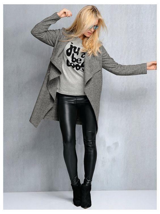 tenue d contract e manteau en laine sweatshirt legging simili cuir mode printemps. Black Bedroom Furniture Sets. Home Design Ideas