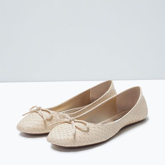 ZARA - SALE - PATTERNED LEATHER BALLET FLATS