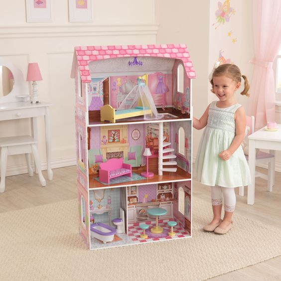 With its pretty, pastel artwork and detailed furniture pieces, our Penelope Dollhouse makes a great gift for any occasion. It's over three and a half feet tall and was built to last for years.
