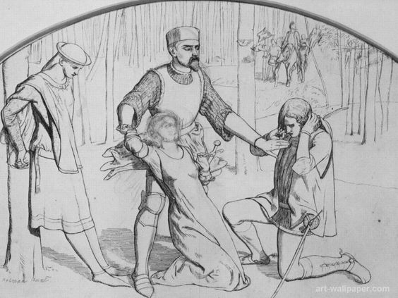 William Holman Hunt - Drawing for Valentine Rescuing Sylvia From Proteus http://www.britishmuseum.org/research/search_the_collection_database/search_object_details.aspx?objectid=739504&partid=1&searchText=valentine+rescuing&numpages=10&orig=%2fresearch%2fsearch_the_collection_database.aspx&currentPage=1: