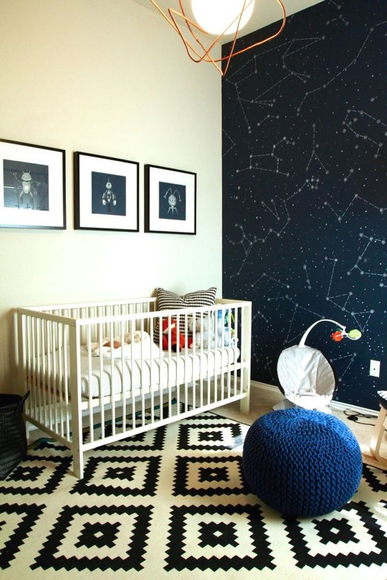 Modern Space-Themed Nursery - love the bold @IkeaUSA rug and constellation accent wall!: