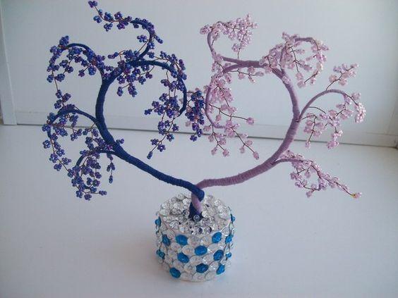Дерево из бисера в форме сердца tutorial