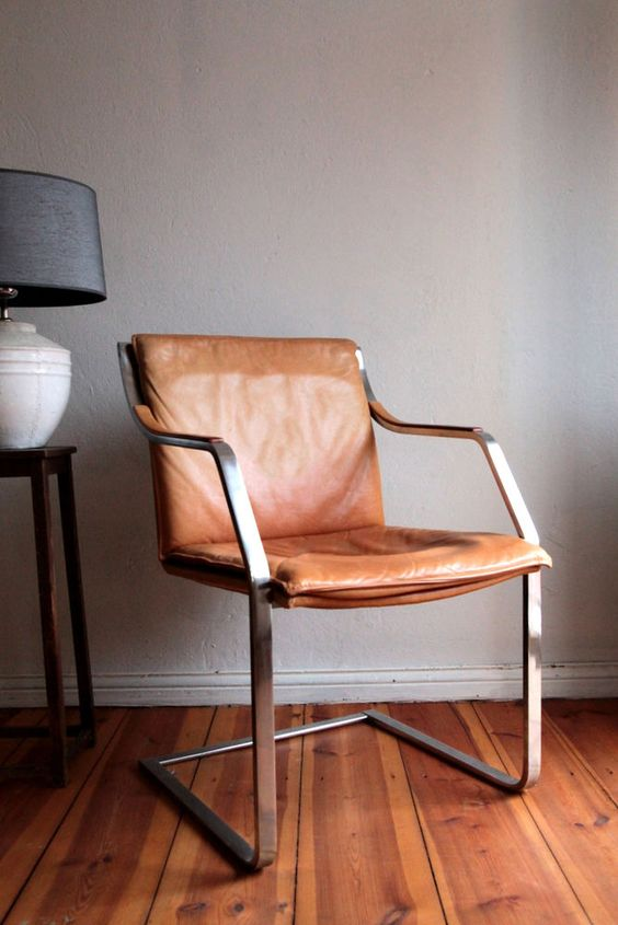 Lounge Sessel Leder Cognac Walter Knoll Art Collection Design Freischwinger Leder