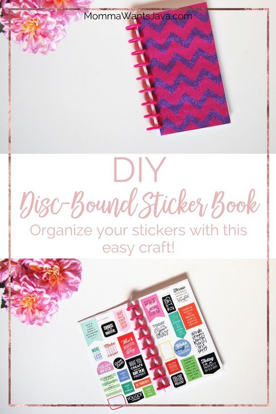This DIY Disc-Bound Sticker Book is so easy to make & it will get all of your stickers organized! Great gift idea for planner addicts and sticker junkies!