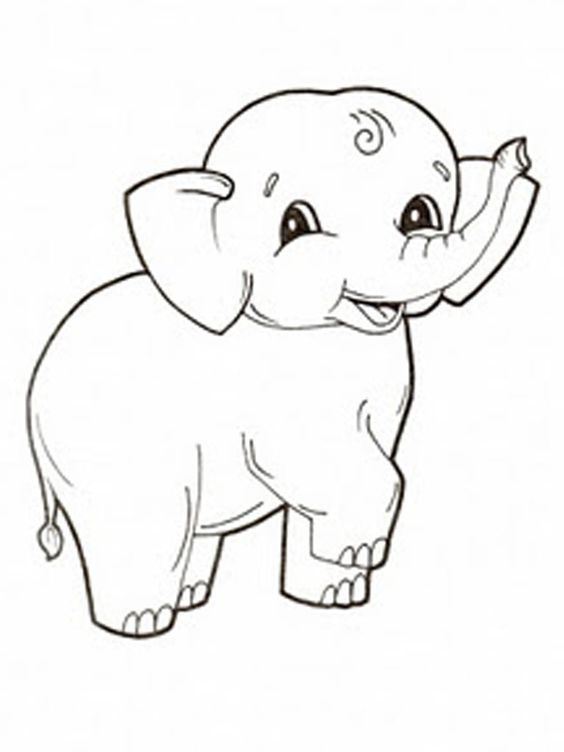Relaxing coloring pages elephant baby