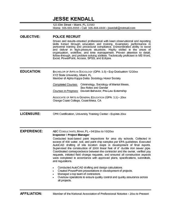 police officer resume  police officer and resume on pinterest