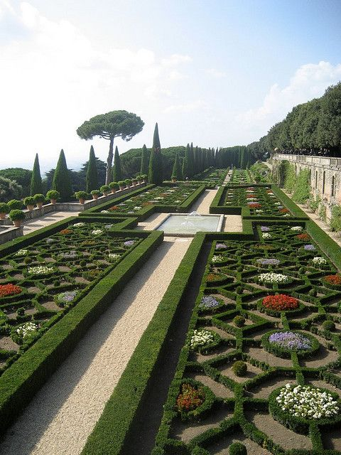 Papal Gardens at Castel Gandolfo - Location of the Pope's summer palace - Castel Gandolfo  is a small Italian town or comune in Lazio that occupies a height overlooking Lake Albano about 15 miles south-east of Rome, on the Alban Hills. It is best known as the summer residence of the Pope. The town was voted one of the most beautiful towns in Italy. Photo by desquiliano
