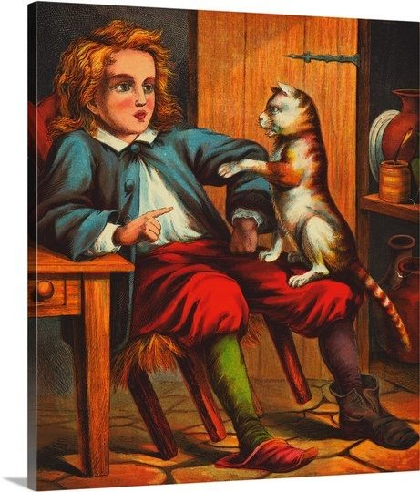 Puss in Boots Conversing with Young Boy