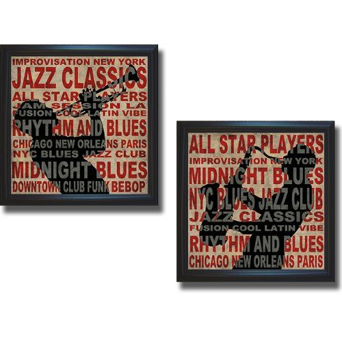23% Off was $299.99, now is $229.99! Jazz I & II by Luke Wilson 2-pc Premium Satin-Black Framed Canvas Set (Ready to Hang)