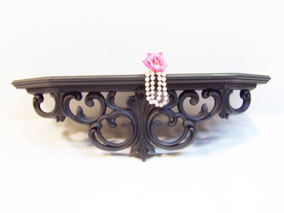 Black Crown Wall Decor : Large vintage syroco shabby wall shelf bed crown satin