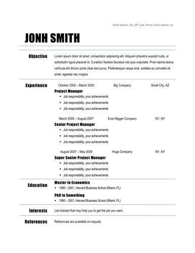 plain basic sample resume simple - Chronological Sample Resume