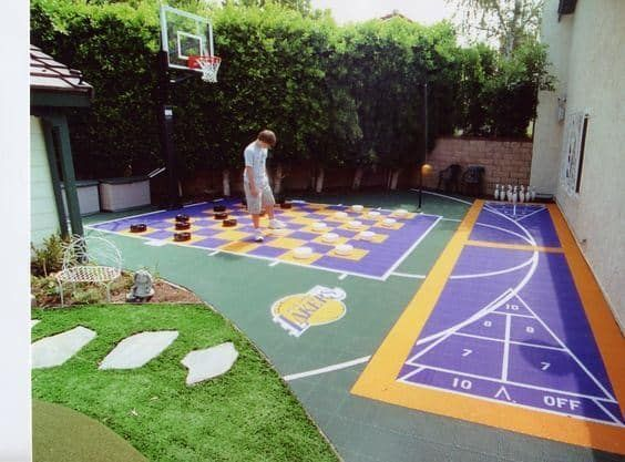 This Would Be The Greatest Setup For A House With Kids You Can Build A Court That Can Hold All Ki Backyard Basketball Backyard Court Basketball Court Backyard