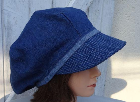 Casquette chapeau femme forme gavroche en jean bleu avec fleur déco - Taille L…