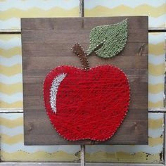 $39 Etsy String Art Apple Teacher Appreciation Gift Handmade by NailedItDesign.etsy.com #smallwoodcrafts