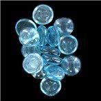 18mm Iridescent Blue Decorative Oval Glass Gems