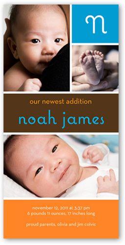 Birth Announcement: Initially Boy, Square Corners, Orange