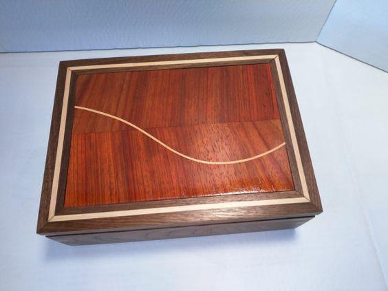 Handmade Wooden Jewelry Keepsake Box  Walnut by BixbyWoodshop