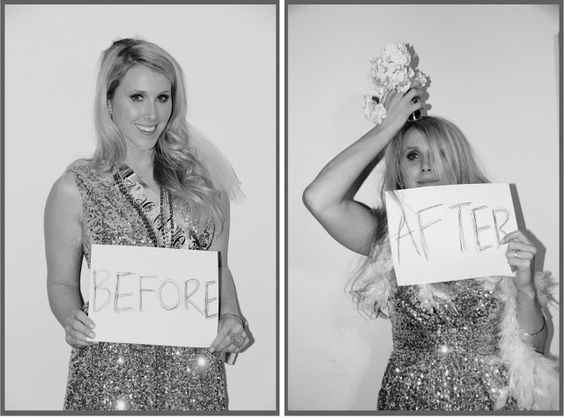 bachelorette party before and after- but have the sign say what they are in the bridal party (ie bride, moh, etc)