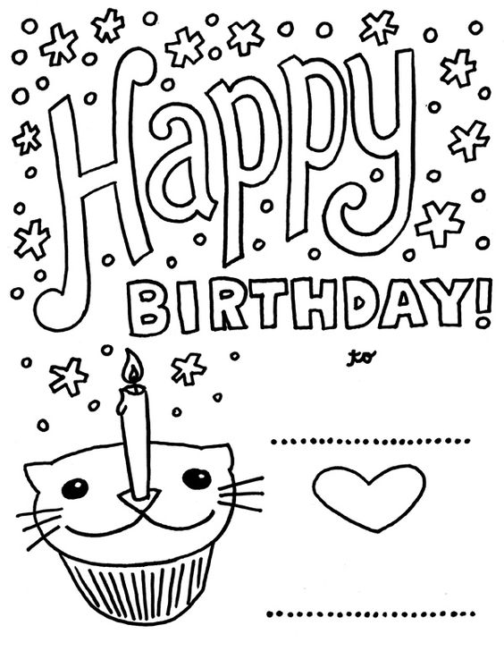 https://flic.kr/p/auF2mx | Happy Birthday CatCupcake | Download a PDF of this coloring page to print and color for free at color-monster.com/2011/08/happy-birthday-cat-cupcake/