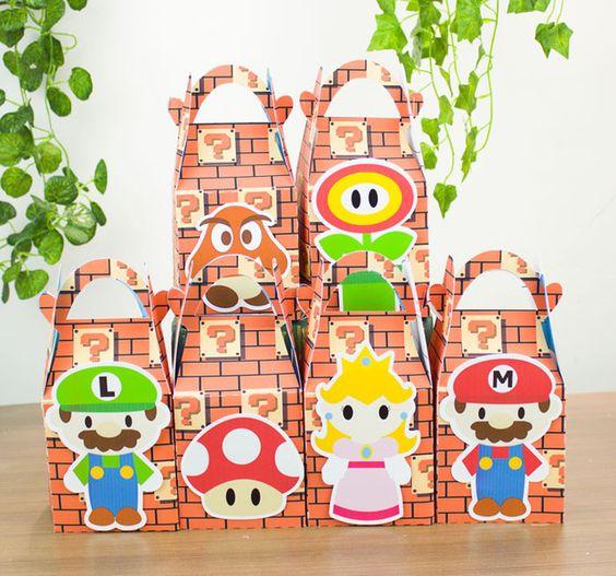 Mario Bros Faveur Boîte De Bonbons Boîte Cadeau Boîte de Petit Gâteau Boîte Garçon Enfants Fête D'anniversaire Fournitures Décoration Parti Événement Fournitures