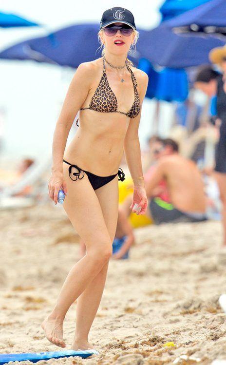 Gwen Stefani - The mom of two shows off her fabulous figure in a leopard-print bikini.