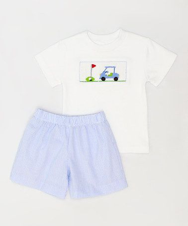 Love this Blue Gingham Golf Tee & Shorts - Infant, Toddler & Boys