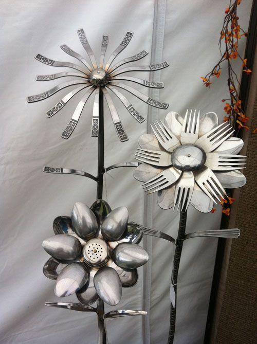 Silverware repurposed as garden art.