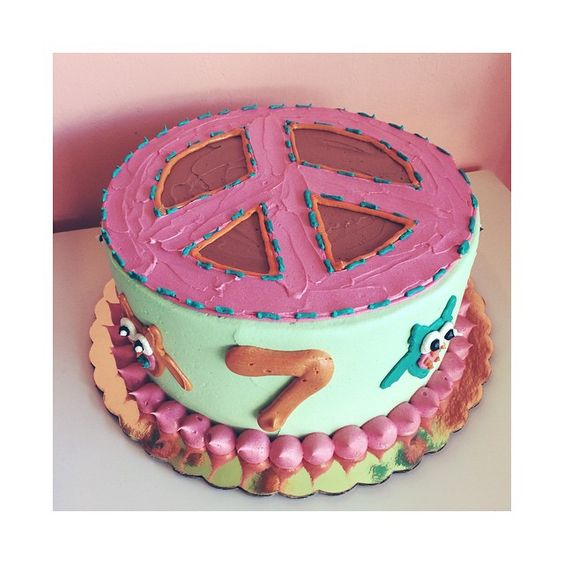 Owl and Peace Sign Birthday Cake by 2tarts Bakery / New Braunfels, Texas / www.2tarts.com