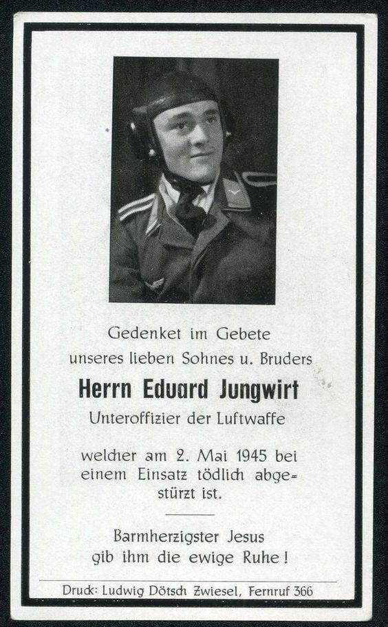 orig. WK2 STERBEBILD - DEATH CARD - PILOT - LUFTWAFFE - FLIEGERHAUBE - MAI 1945