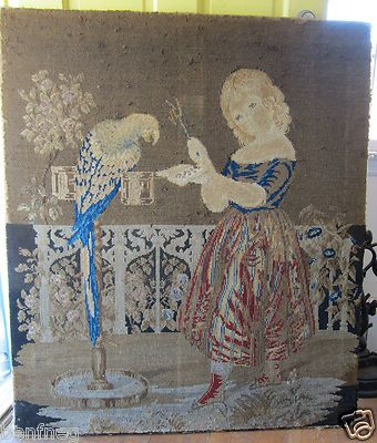 LG ANTIQUE NEEDLE POINT TAPESTRY 19TH CENTURY GIRL WITH PARROT BIRD