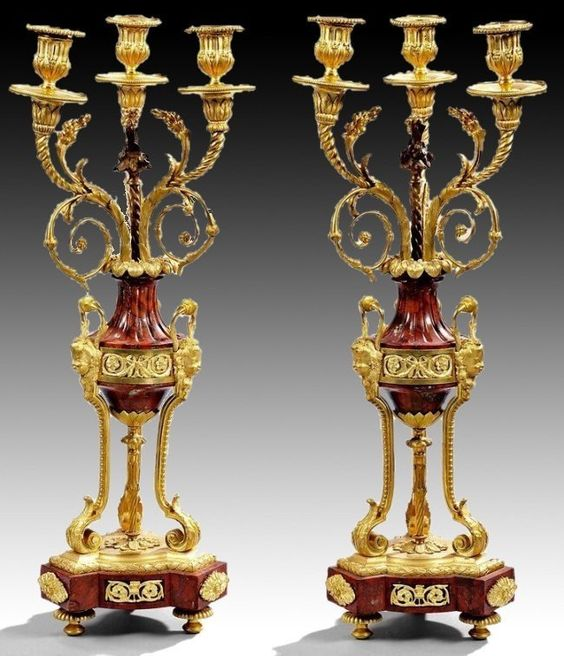 A VERY FINE PAIR OF ROUGES MARBLE AND ORMOLU CANELABRA : Lot 247