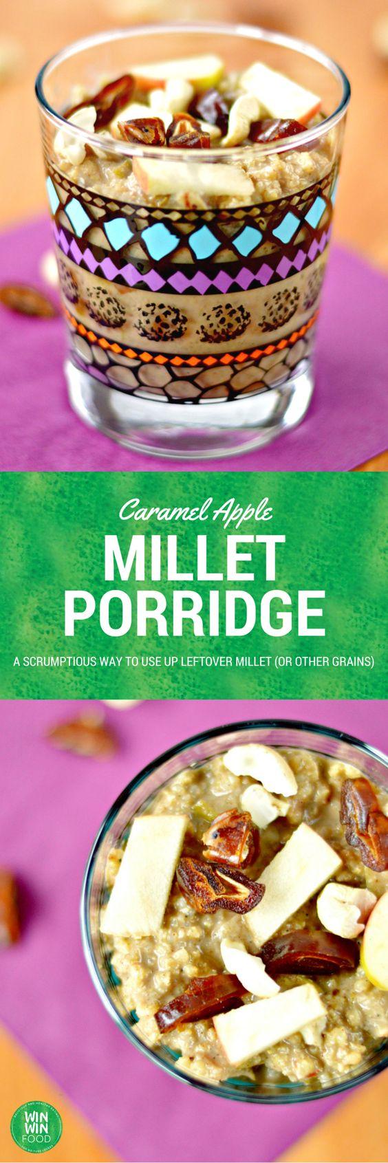 Caramel Apple Millet Porridge | WIN-WINFOOD.com #vegan #glutenfree #cleaneating #plantbased #healthy