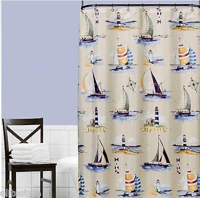 Saturday Knight Ltd Regatta Fabric Shower Curtain 70 X 72 IN