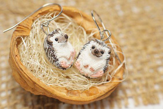 Hedgehog Earrings Display Item Made To Order by VaniLlamaArt
