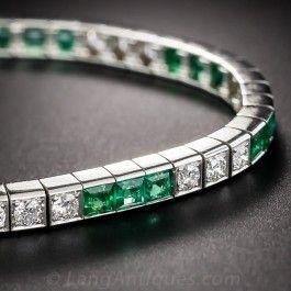 Art Deco Platinum Emerald and Diamond Bracelet