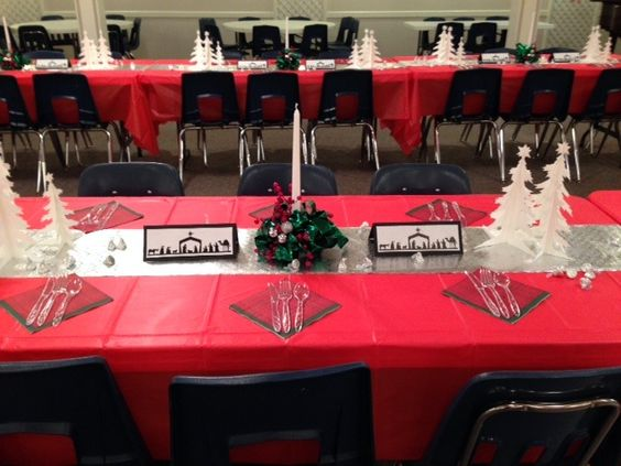 Christmas church banquet decorations catering table
